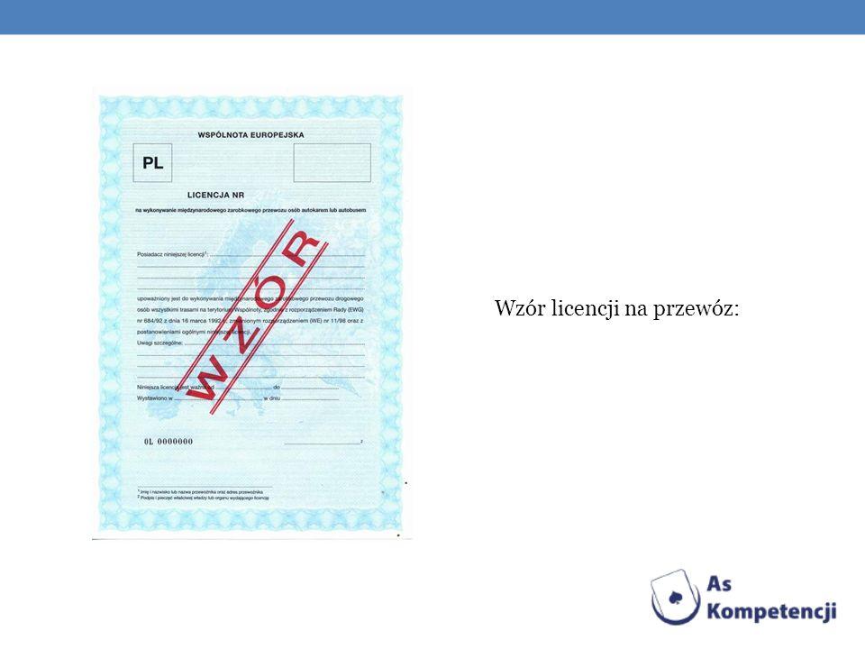 Wzór licencji na przewóz: