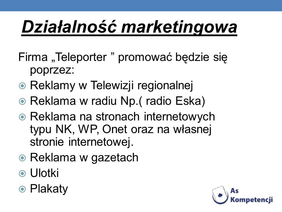 Działalność marketingowa Firma Teleporter promować będzie się poprzez: Reklamy w Telewizji regionalnej Reklama w radiu Np.( radio Eska) Reklama na str