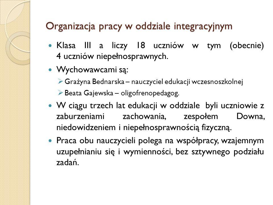 Organizacja pracy w oddziale integracyjnym Klasa III a liczy 18 uczniów w tym (obecnie) 4 uczniów niepełnosprawnych. Wychowawcami są: Grażyna Bednarsk