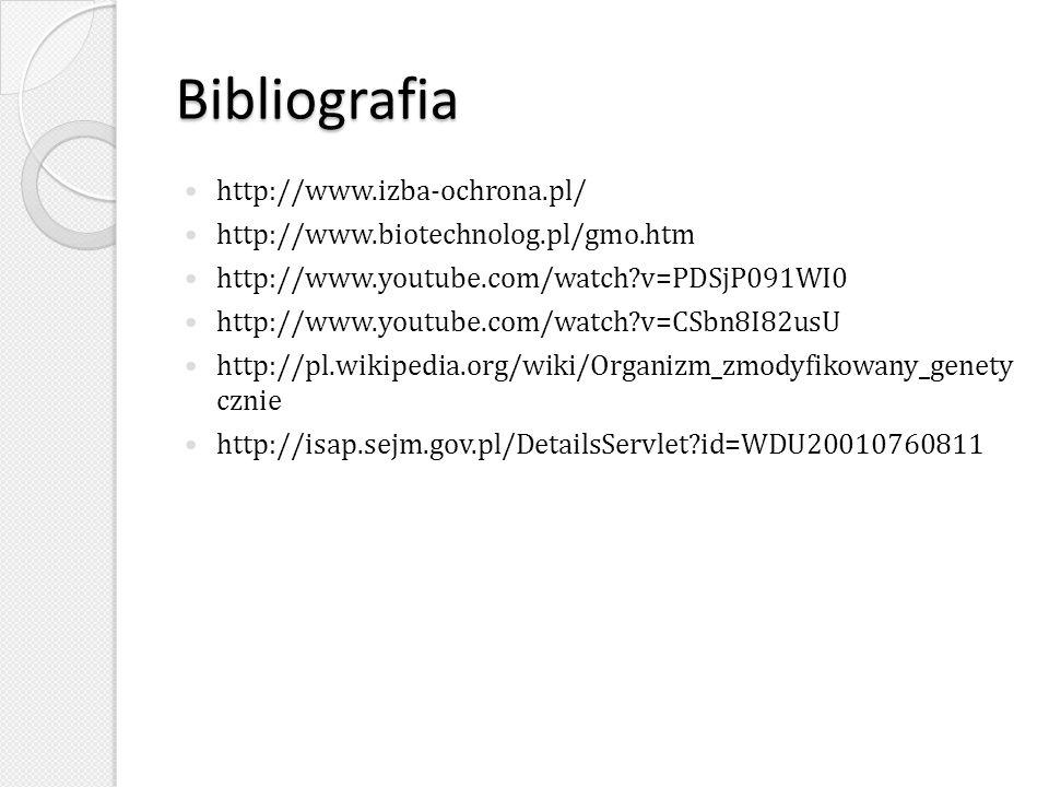 Bibliografia http://www.izba-ochrona.pl/ http://www.biotechnolog.pl/gmo.htm http://www.youtube.com/watch?v=PDSjP091WI0 http://www.youtube.com/watch?v=