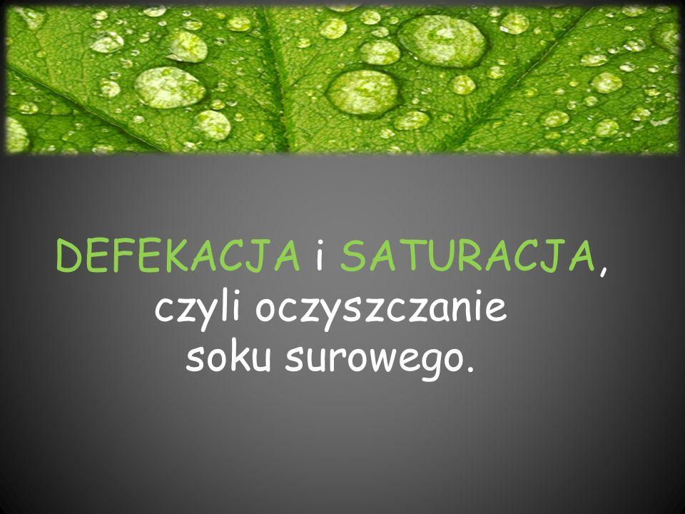 DEFEKACJA i SATURACJA, czyli oczyszczanie soku surowego.