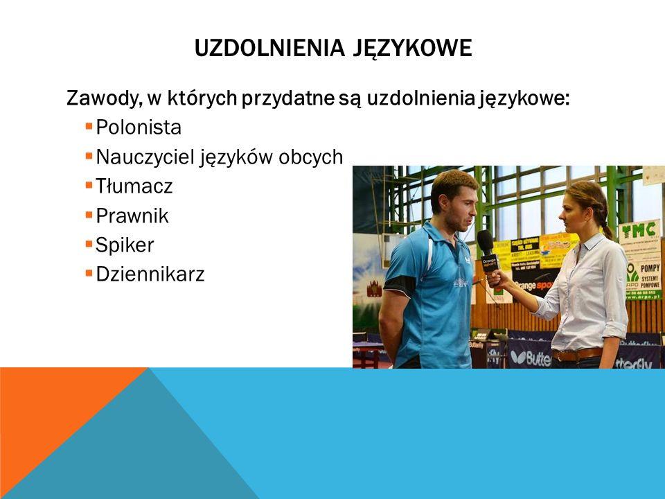 UZDOLNIENIA JĘZYKOWE Zawody, w których przydatne są uzdolnienia językowe: Polonista Nauczyciel języków obcych Tłumacz Prawnik Spiker Dziennikarz