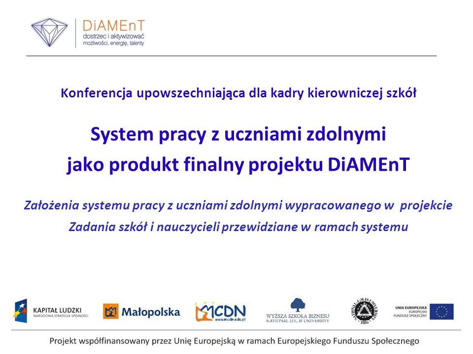 Konferencja upowszechniająca dla kadry kierowniczej szkół System pracy z uczniami zdolnymi jako produkt finalny projektu DiAMEnT Założenia systemu pra