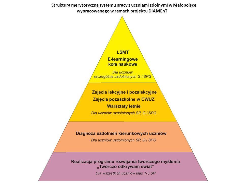 Struktura merytoryczna systemu pracy z uczniami zdolnymi w Małopolsce wypracowanego w ramach projektu DiAMEnT