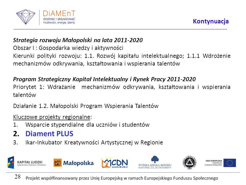 Strategia rozwoju Małopolski na lata 2011-2020 Obszar I : Gospodarka wiedzy i aktywności Kierunki polityki rozwoju: 1.1. Rozwój kapitału intelektualne