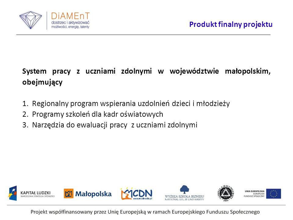 System pracy z uczniami zdolnymi w województwie małopolskim, obejmujący 1. Regionalny program wspierania uzdolnień dzieci i młodzieży 2. Programy szko