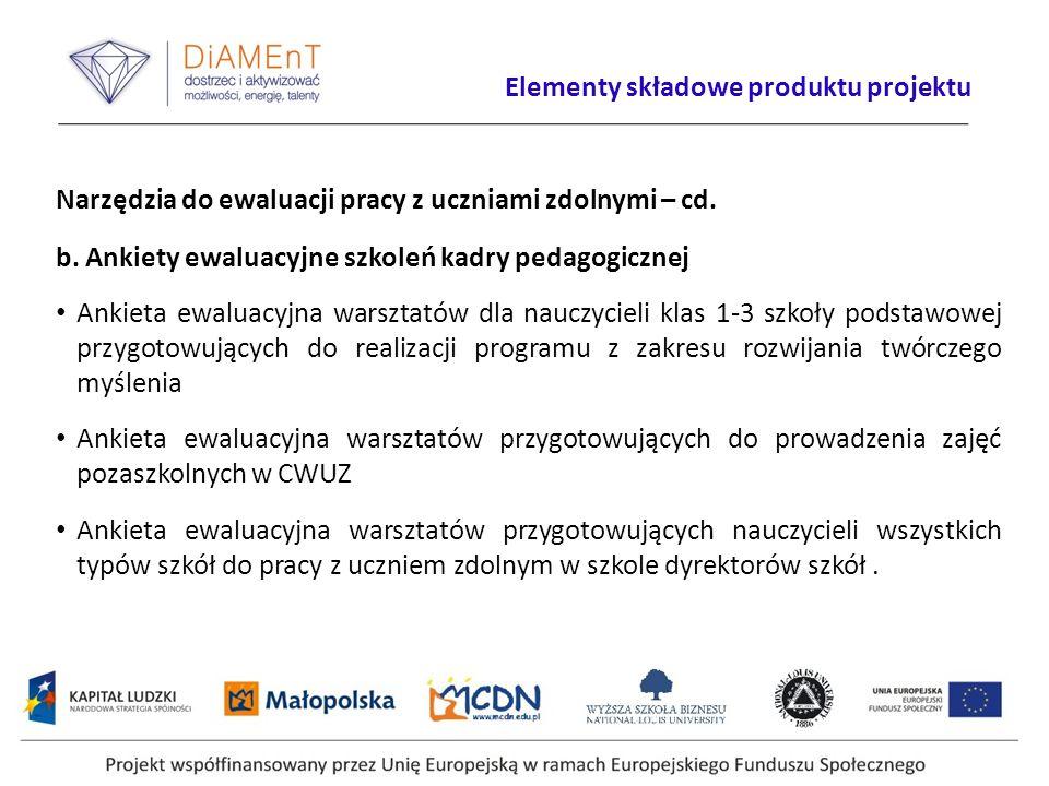 Narzędzia do ewaluacji pracy z uczniami zdolnymi – cd. b. Ankiety ewaluacyjne szkoleń kadry pedagogicznej Ankieta ewaluacyjna warsztatów dla nauczycie