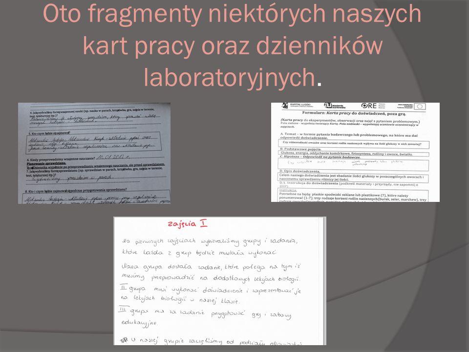 Oto fragmenty niektórych naszych kart pracy oraz dzienników laboratoryjnych.