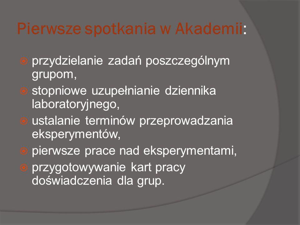 Pierwsze spotkania w Akademii: przydzielanie zadań poszczególnym grupom, stopniowe uzupełnianie dziennika laboratoryjnego, ustalanie terminów przeprow
