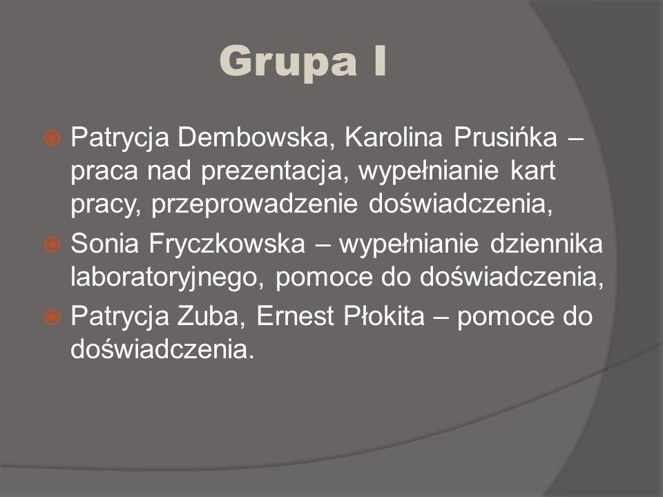 Grupa I Patrycja Dembowska, Karolina Prusińka – praca nad prezentacja, wypełnianie kart pracy, przeprowadzenie doświadczenia, Sonia Fryczkowska – wype