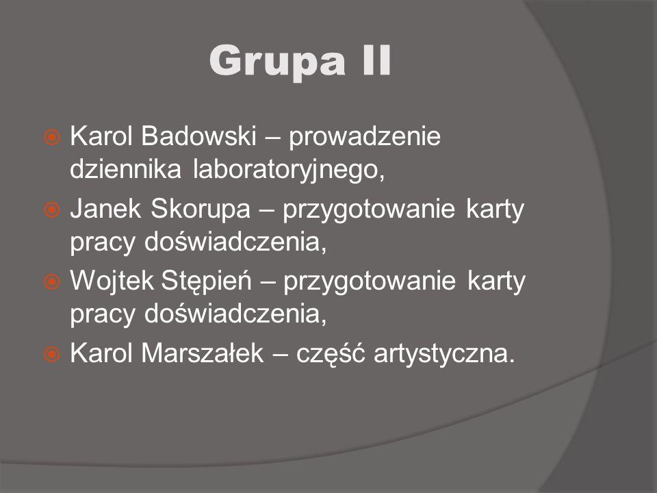 Grupa II Karol Badowski – prowadzenie dziennika laboratoryjnego, Janek Skorupa – przygotowanie karty pracy doświadczenia, Wojtek Stępień – przygotowan