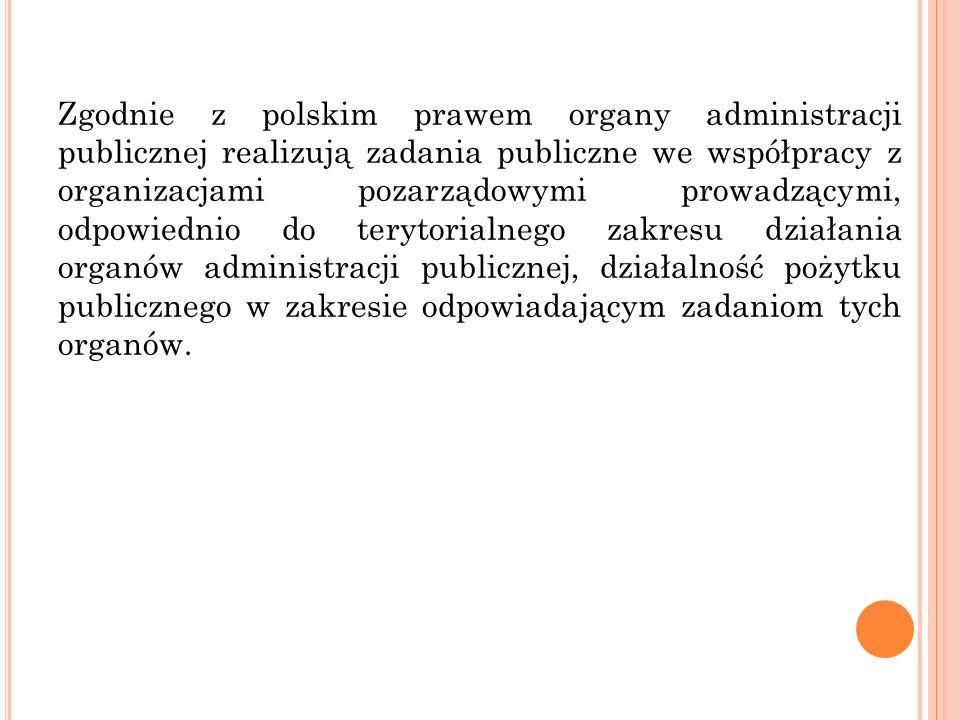 Zgodnie z polskim prawem organy administracji publicznej realizują zadania publiczne we współpracy z organizacjami pozarządowymi prowadzącymi, odpowie