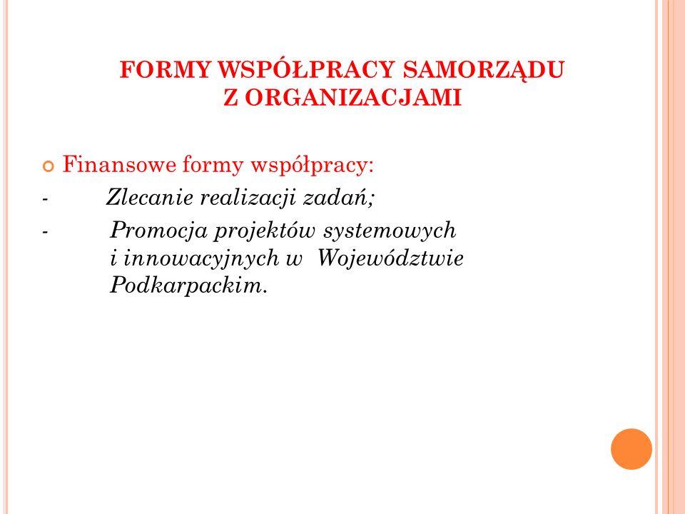 Niefinansowe formy współpracy: - konsultacja projektów aktów prawa miejscowego w dziedzinach dotyczących działalności statutowej podmiotów Programu; - wsparcie pozafinansowe dla podmiotów Programu; - tworzenie wspólnych zespołów o charakterze doradczym i konsultacyjnym; - obejmowanie honorowym patronatem Marszałka Województwa Podkarpackiego lub Przewodniczącego Sejmiku Województwa Podkarpackiego; - udzielanie rekomendacji podmiotom Programu; - zawieranie umów partnerskich; - promocja wolontariatu; - pomoc w poszukiwaniu partnerów.