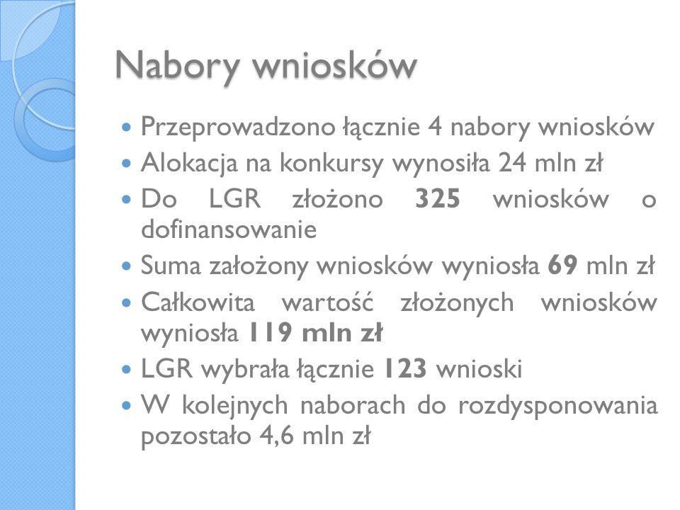 Nabory wniosków Przeprowadzono łącznie 4 nabory wniosków Alokacja na konkursy wynosiła 24 mln zł Do LGR złożono 325 wniosków o dofinansowanie Suma zał