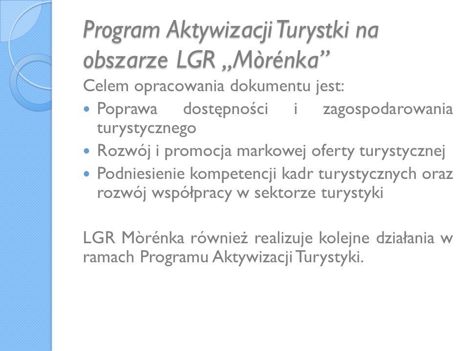 Program Aktywizacji Turystki na obszarze LGR Mòrénka Celem opracowania dokumentu jest: Poprawa dostępności i zagospodarowania turystycznego Rozwój i promocja markowej oferty turystycznej Podniesienie kompetencji kadr turystycznych oraz rozwój współpracy w sektorze turystyki LGR Mòrénka również realizuje kolejne działania w ramach Programu Aktywizacji Turystyki.