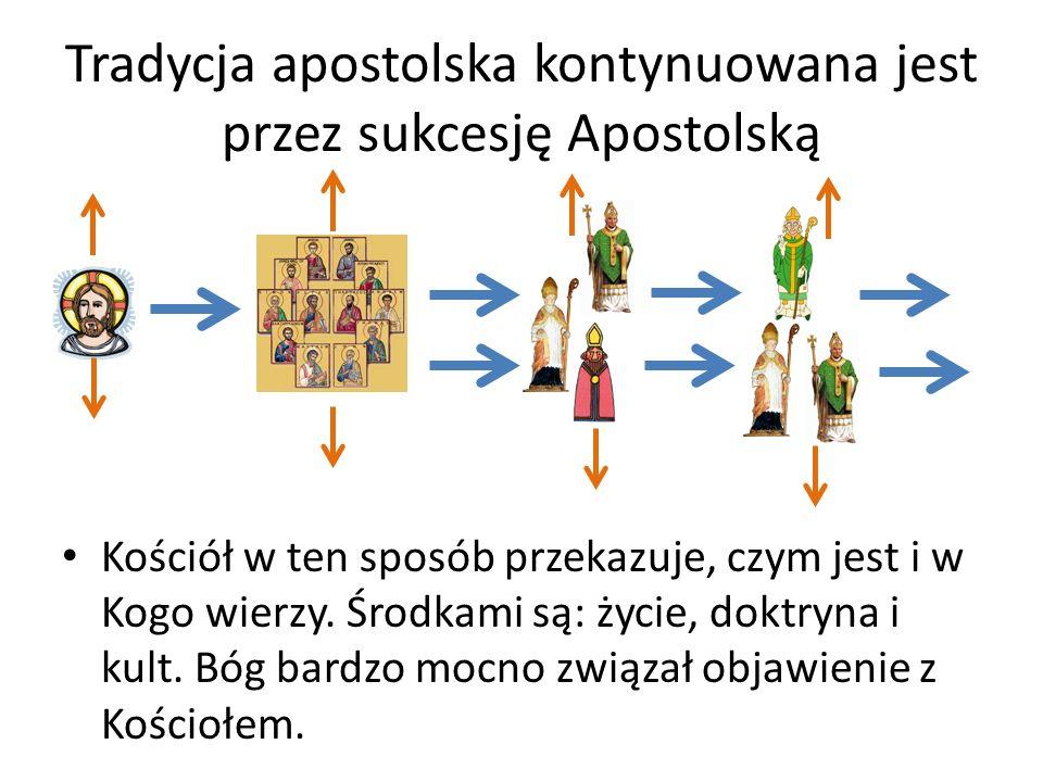 Tradycja apostolska kontynuowana jest przez sukcesję Apostolską Kościół w ten sposób przekazuje, czym jest i w Kogo wierzy. Środkami są: życie, doktry