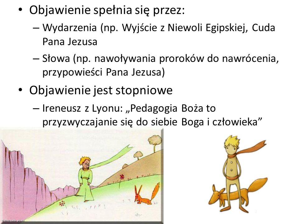 Objawienie spełnia się przez: – Wydarzenia (np. Wyjście z Niewoli Egipskiej, Cuda Pana Jezusa – Słowa (np. nawoływania proroków do nawrócenia, przypow