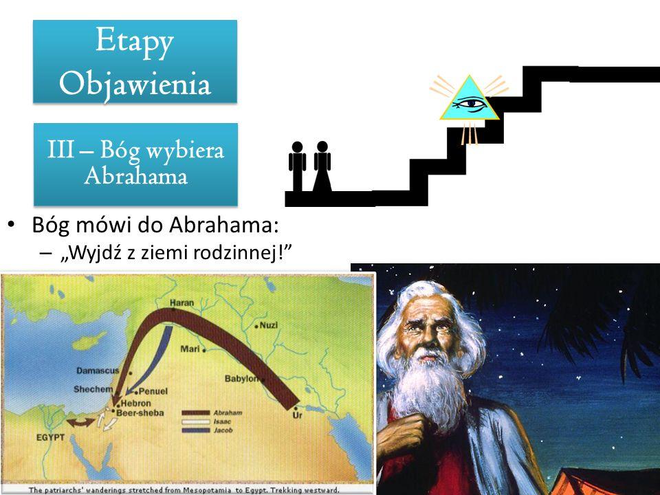 Etapy Objawienia III – Bóg wybiera Abrahama Bóg mówi do Abrahama: – Wyjdź z ziemi rodzinnej! Obietnica Boża: – Będziesz ojcem mnóstwa narodów. Bóg wyb