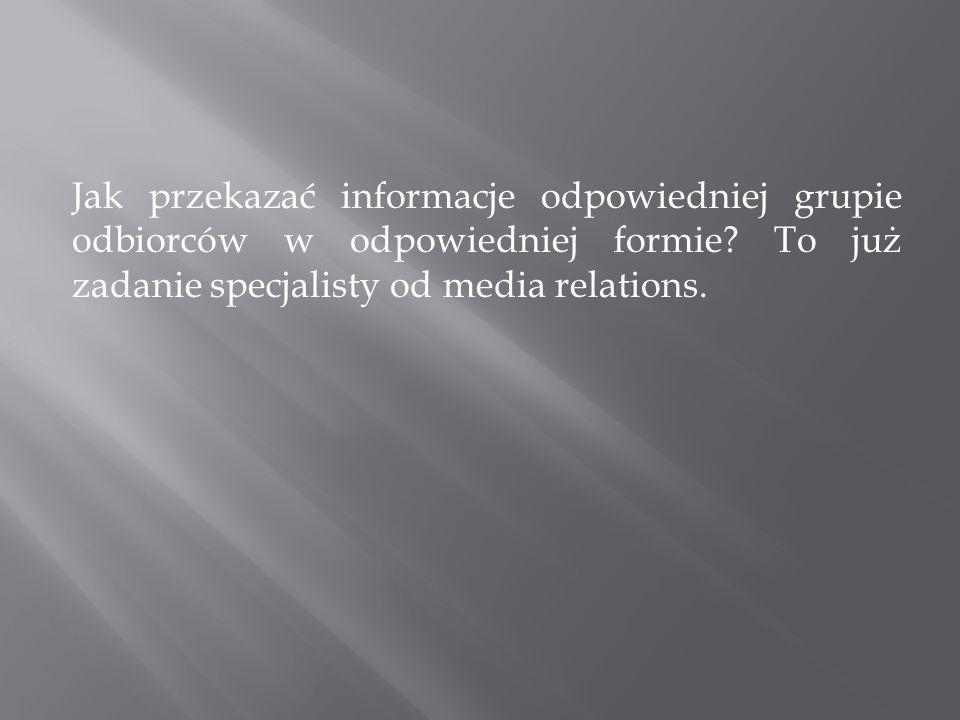 Jak przekazać informacje odpowiedniej grupie odbiorców w odpowiedniej formie.