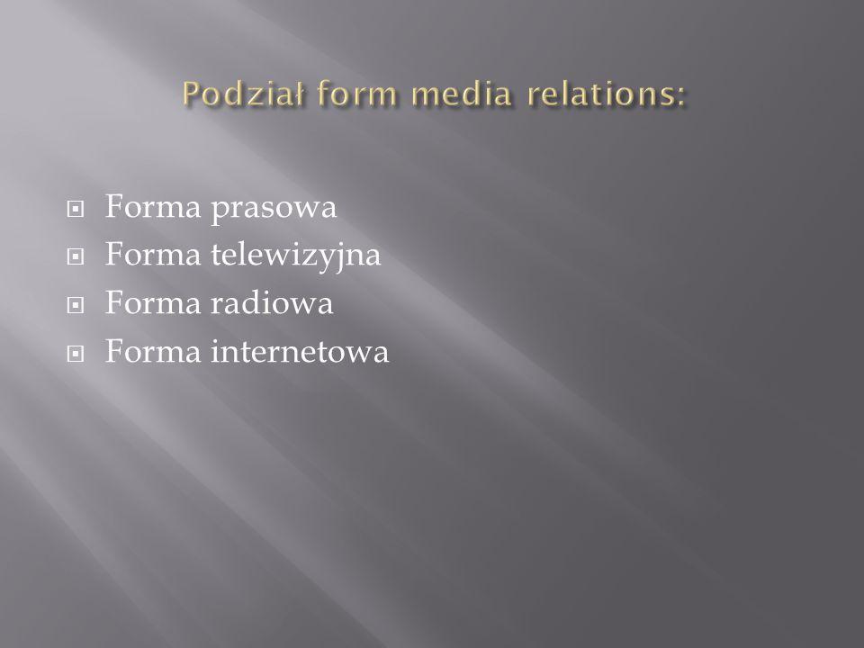 W ramach działań prasowych wykorzystywane są następujące formy publikacji: informacje prasowe i artykuły, konferencje, pokazy i prezentacje, wywiady, testy i konkursy.