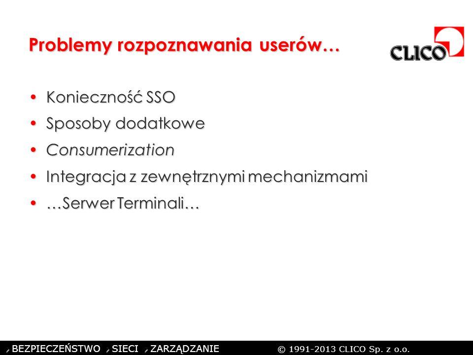 ©CLICO Sp. z o.o., 2010 BEZPIECZEŃSTWO SIECI ZARZĄDZANIE © 1991-2013 CLICO Sp. z o.o. Problemy rozpoznawania userów… Konieczność SSOKonieczność SSO Sp