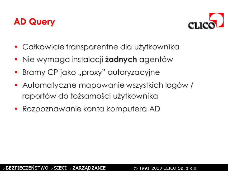 ©CLICO Sp. z o.o., 2010 BEZPIECZEŃSTWO SIECI ZARZĄDZANIE © 1991-2013 CLICO Sp. z o.o. AD Query Całkowicie transparentne dla użytkownikaCałkowicie tran