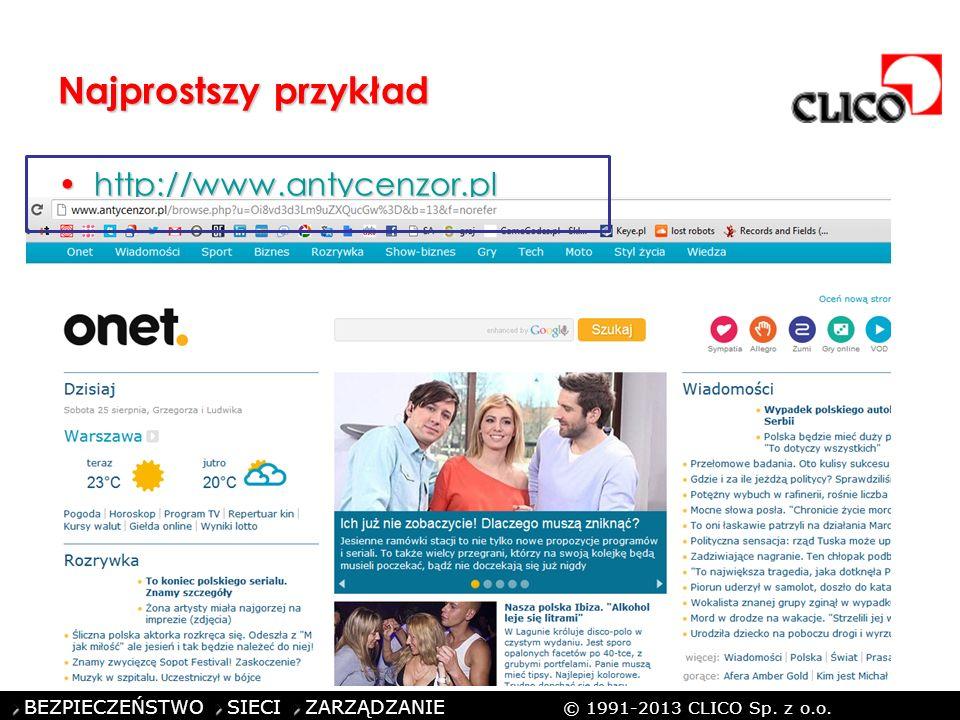 ©CLICO Sp. z o.o., 2010 BEZPIECZEŃSTWO SIECI ZARZĄDZANIE © 1991-2013 CLICO Sp. z o.o. Najprostszy przykład http://www.antycenzor.plhttp://www.antycenz