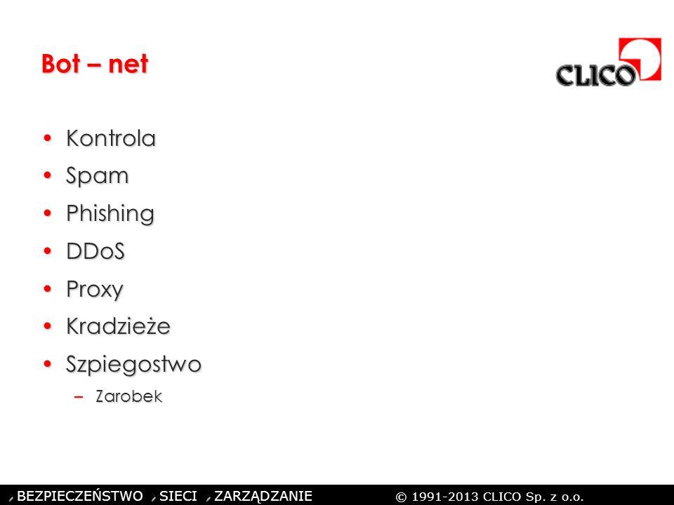 ©CLICO Sp. z o.o., 2010 BEZPIECZEŃSTWO SIECI ZARZĄDZANIE © 1991-2013 CLICO Sp. z o.o. Bot – net KontrolaKontrola SpamSpam PhishingPhishing DDoSDDoS Pr