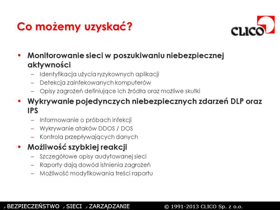 ©CLICO Sp. z o.o., 2010 BEZPIECZEŃSTWO SIECI ZARZĄDZANIE © 1991-2013 CLICO Sp. z o.o. Co możemy uzyskać? Monitorowanie sieci w poszukiwaniu niebezpiec