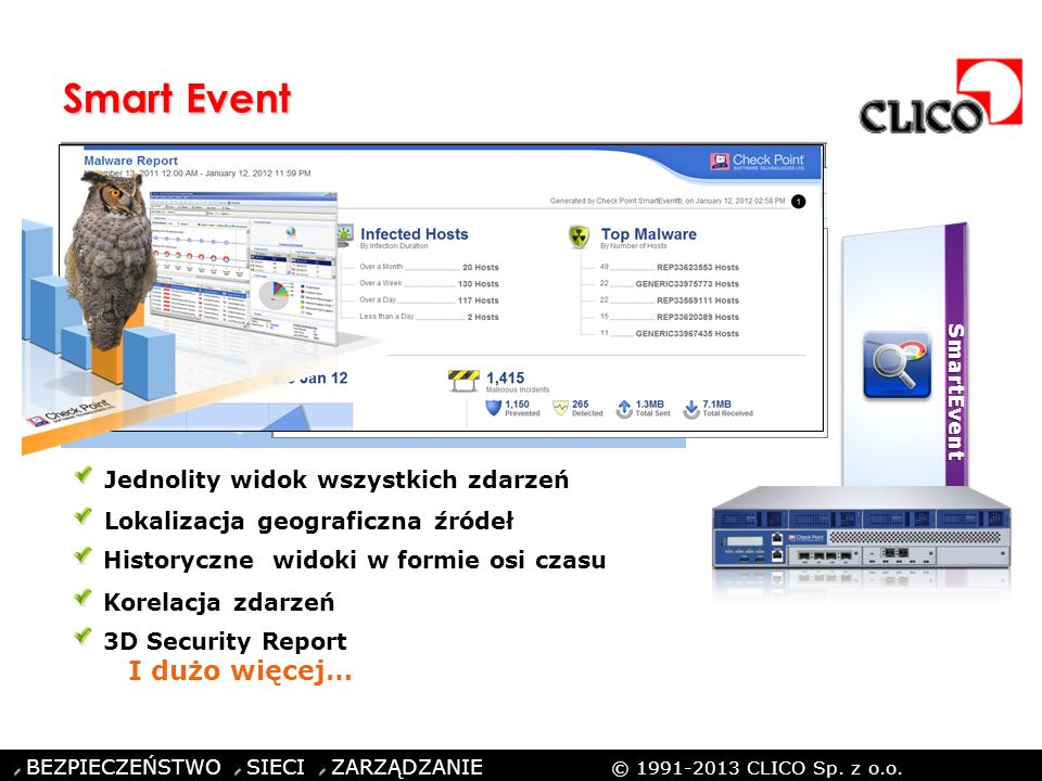 ©CLICO Sp. z o.o., 2010 BEZPIECZEŃSTWO SIECI ZARZĄDZANIE © 1991-2013 CLICO Sp. z o.o. Smart Event SmartEvent Jednolity widok wszystkich zdarzeń Lokali