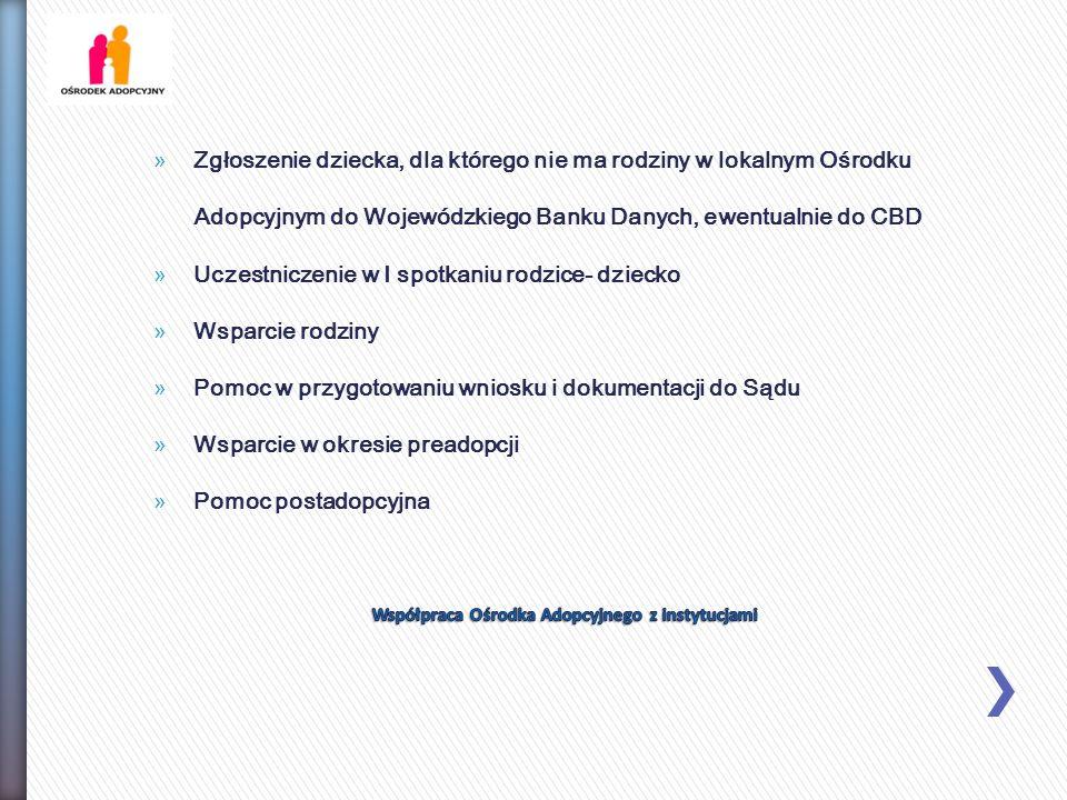 »Zgłoszenie dziecka, dla którego nie ma rodziny w lokalnym Ośrodku Adopcyjnym do Wojewódzkiego Banku Danych, ewentualnie do CBD »Uczestniczenie w I sp