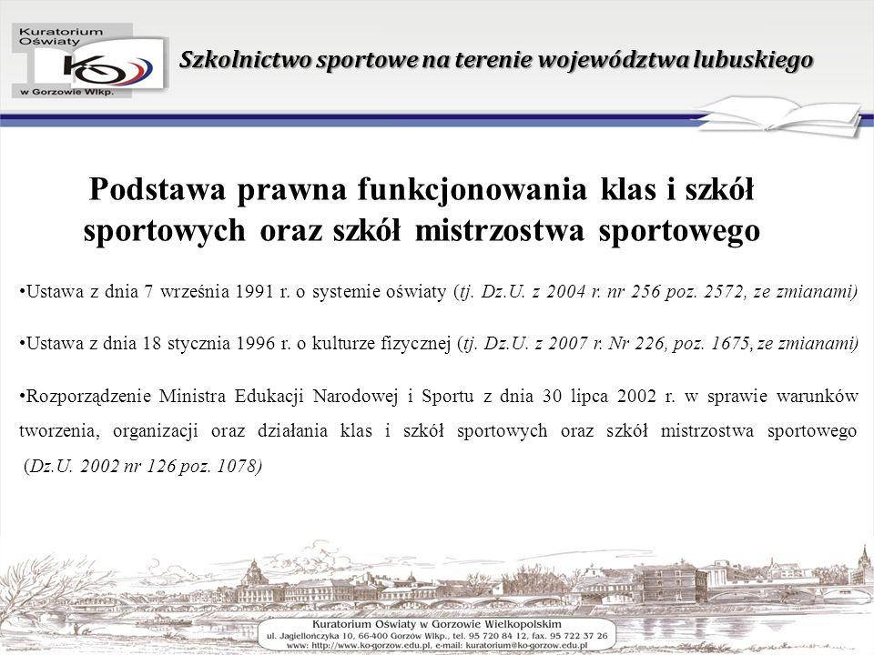 Szkolnictwo sportowe na terenie województwa lubuskiego Ustawa z dnia 7 września 1991 r.