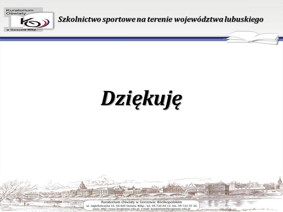 Dziękuję Szkolnictwo sportowe na terenie województwa lubuskiego