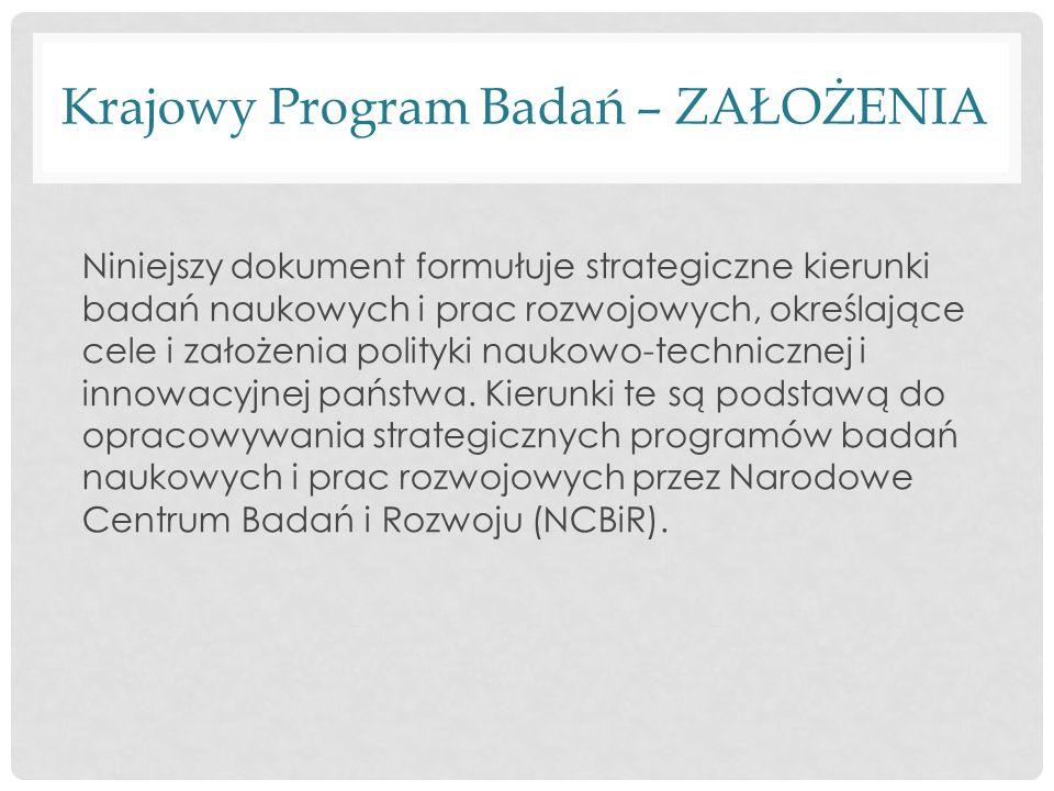 Krajowy Program Badań – ZAŁOŻENIA Niniejszy dokument formułuje strategiczne kierunki badań naukowych i prac rozwojowych, określające cele i założenia polityki naukowo-technicznej i innowacyjnej państwa.