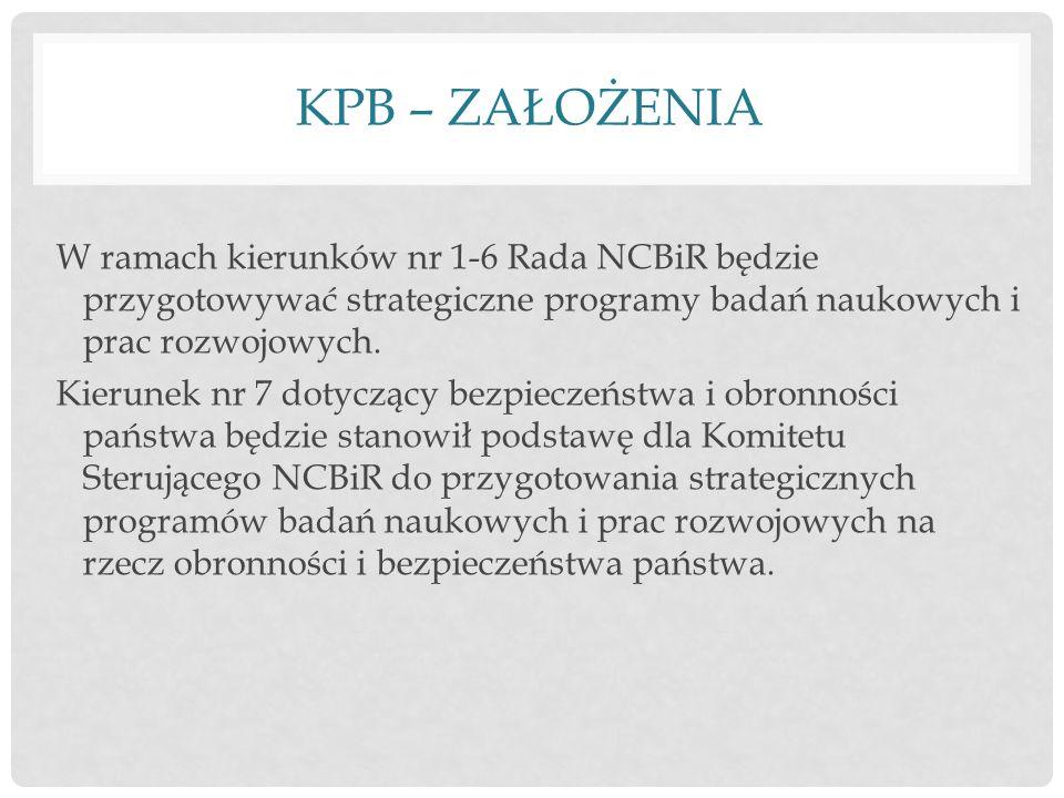 KPB – ZAŁOŻENIA W ramach kierunków nr 1-6 Rada NCBiR będzie przygotowywać strategiczne programy badań naukowych i prac rozwojowych.
