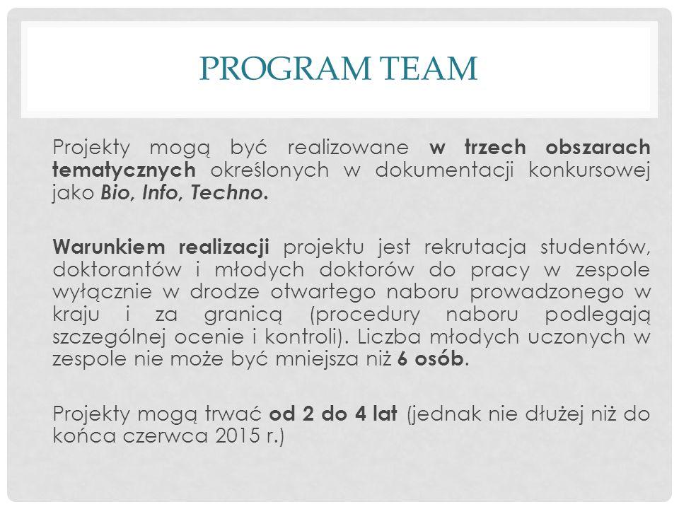 PROGRAM TEAM Projekty mogą być realizowane w trzech obszarach tematycznych określonych w dokumentacji konkursowej jako Bio, Info, Techno.