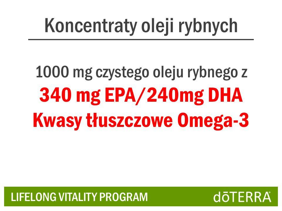 Koncentraty oleji rybnych LIFELONG VITALITY PROGRAM 1000 mg czystego oleju rybnego z 340 mg EPA/240mg DHA Kwasy tłuszczowe Omega-3