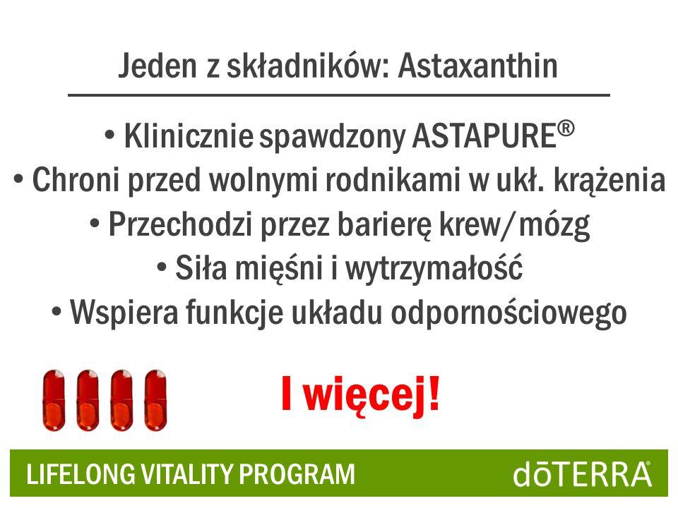 Jeden z składników: Astaxanthin Klinicznie spawdzony ASTAPURE ® Chroni przed wolnymi rodnikami w ukł. krążenia Przechodzi przez barierę krew/mózg Siła
