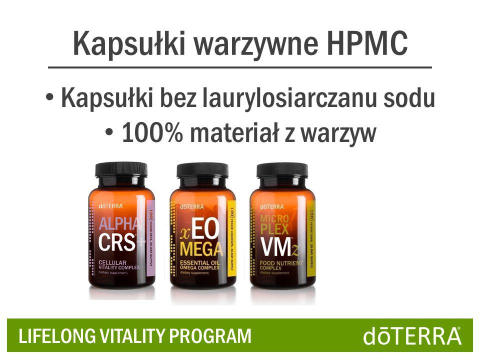 Kapsułki warzywne HPMC Kapsułki bez laurylosiarczanu sodu 100% materiał z warzyw LIFELONG VITALITY PROGRAM