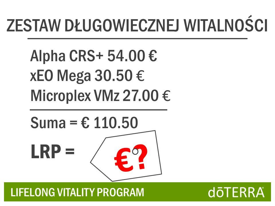 ZESTAW DŁUGOWIECZNEJ WITALNOŚCI Alpha CRS+ 54.00 xEO Mega 30.50 Microplex VMz 27.00 Suma = 110.50 LRP = LIFELONG VITALITY PROGRAM ?