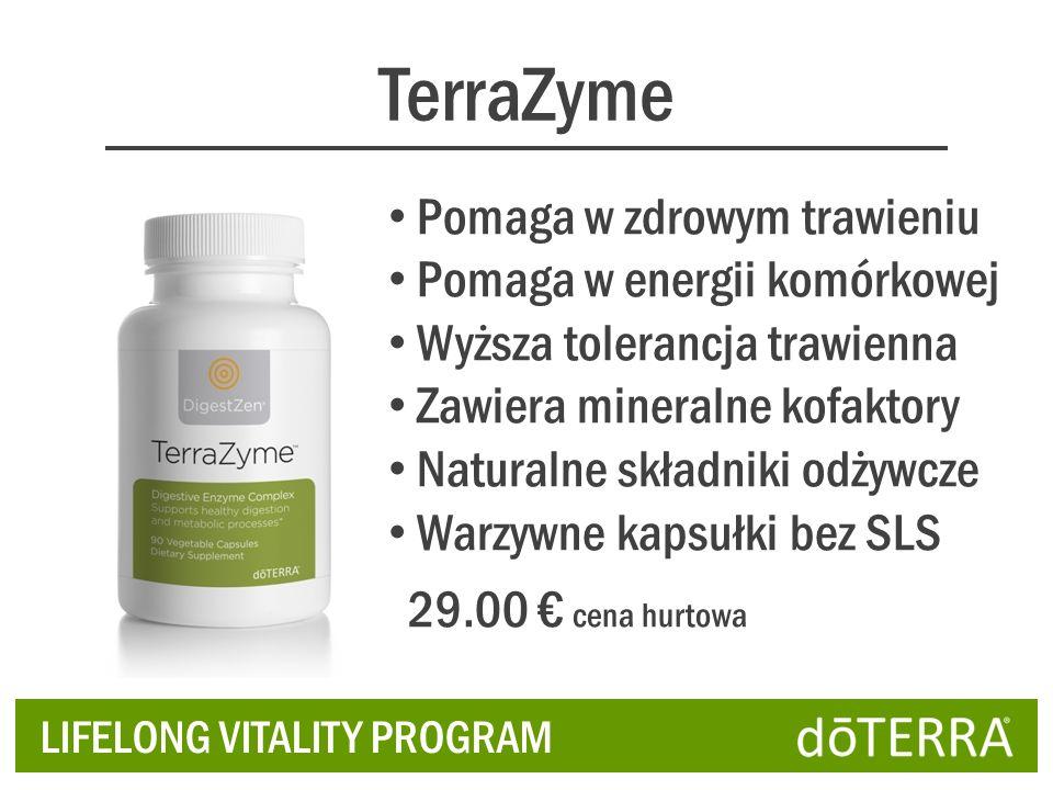 TerraZyme LIFELONG VITALITY PROGRAM Pomaga w zdrowym trawieniu Pomaga w energii komórkowej Wyższa tolerancja trawienna Zawiera mineralne kofaktory Naturalne składniki odżywcze Warzywne kapsułki bez SLS 29.00 cena hurtowa