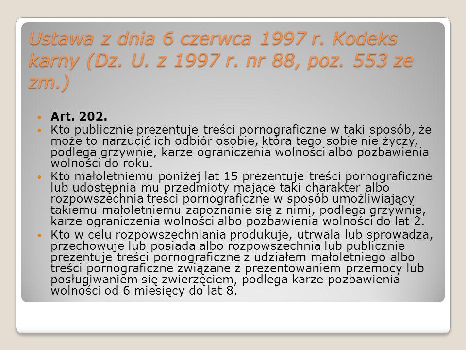 Ustawa z dnia 6 czerwca 1997 r. Kodeks karny (Dz. U. z 1997 r. nr 88, poz. 553 ze zm.) Art. 202. Kto publicznie prezentuje treści pornograficzne w tak