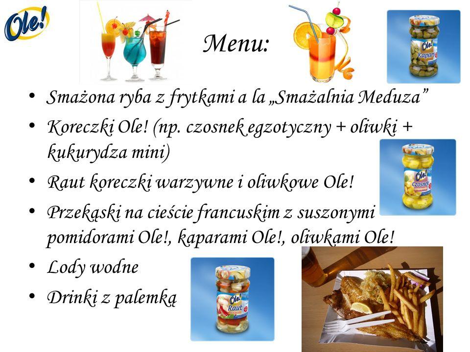 Menu: Smażona ryba z frytkami a la Smażalnia Meduza Koreczki Ole! (np. czosnek egzotyczny + oliwki + kukurydza mini) Raut koreczki warzywne i oliwkowe