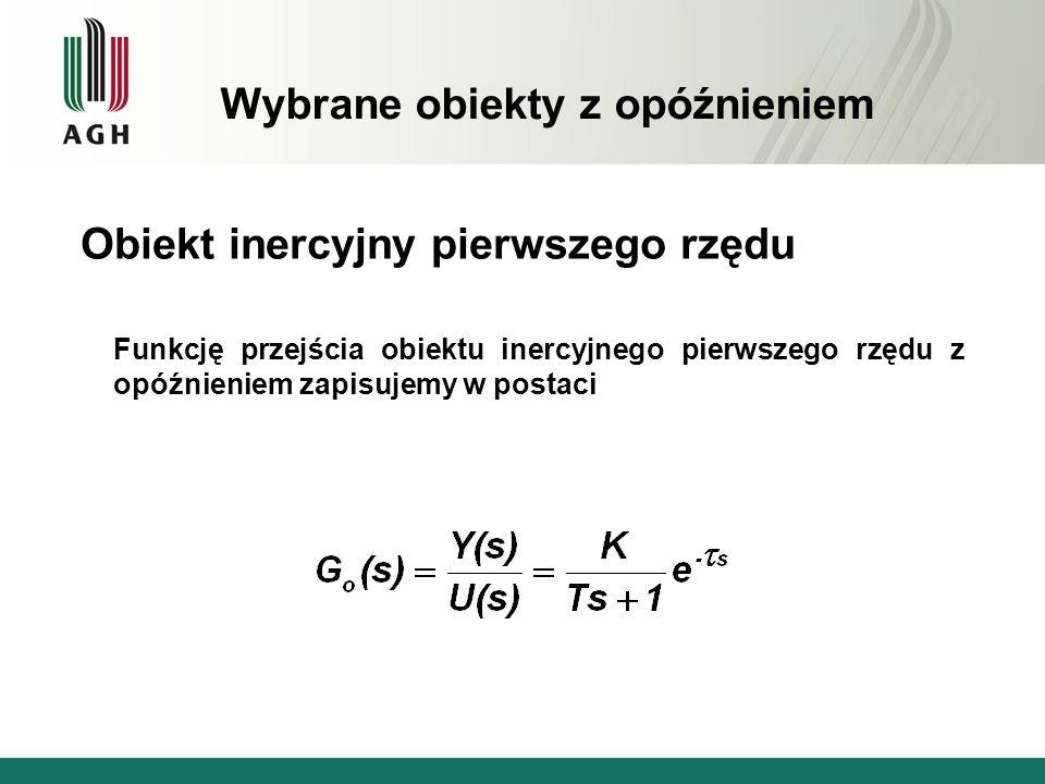 Wybrane obiekty z opóźnieniem Obiekt inercyjny pierwszego rzędu Funkcję przejścia obiektu inercyjnego pierwszego rzędu z opóźnieniem zapisujemy w post