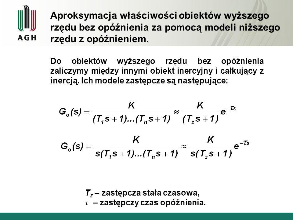 Do obiektów wyższego rzędu bez opóźnienia zaliczymy między innymi obiekt inercyjny i całkujący z inercją. Ich modele zastępcze są następujące: T z – z