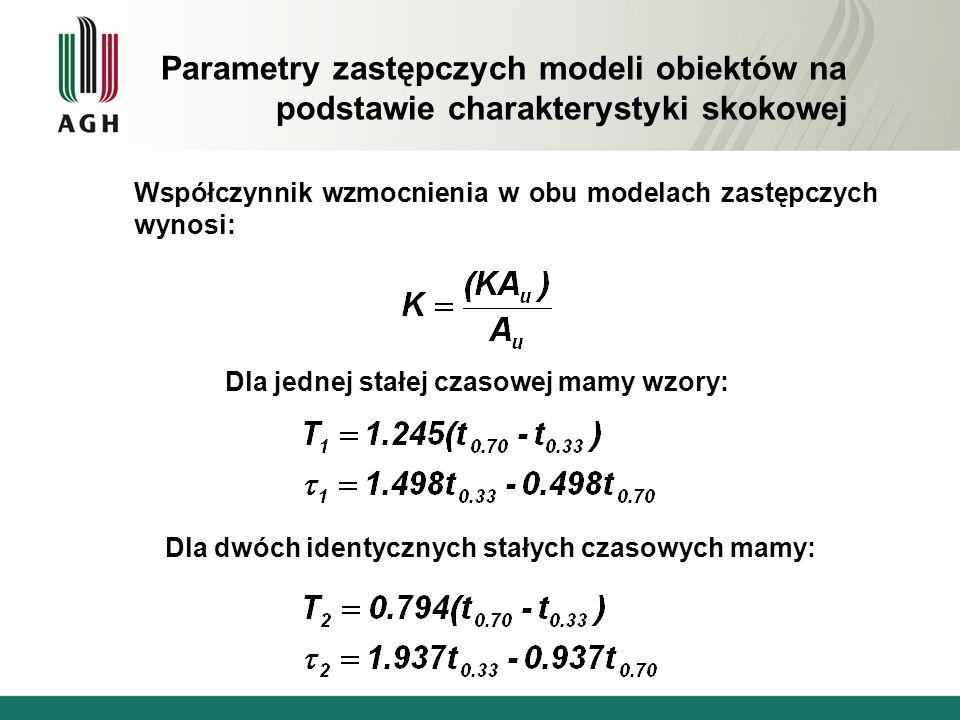 Współczynnik wzmocnienia w obu modelach zastępczych wynosi: Dla jednej stałej czasowej mamy wzory: Dla dwóch identycznych stałych czasowych mamy: Para