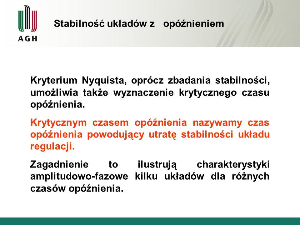 Kryterium Nyquista, oprócz zbadania stabilności, umożliwia także wyznaczenie krytycznego czasu opóźnienia. Krytycznym czasem opóźnienia nazywamy czas