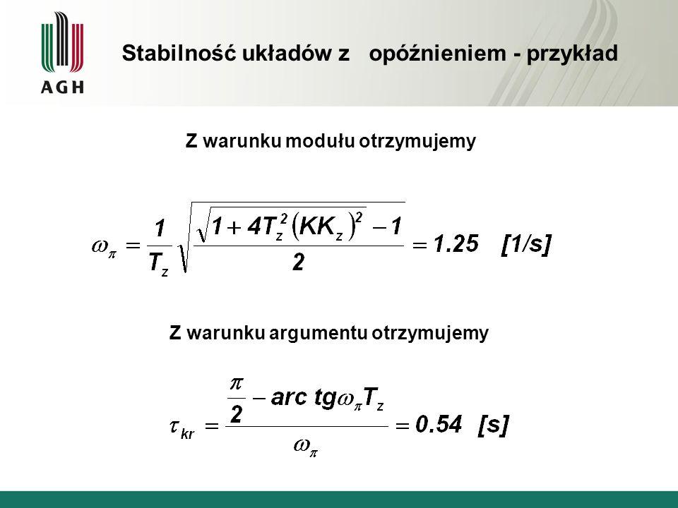 Z warunku modułu otrzymujemy Z warunku argumentu otrzymujemy Stabilność układów z opóźnieniem - przykład