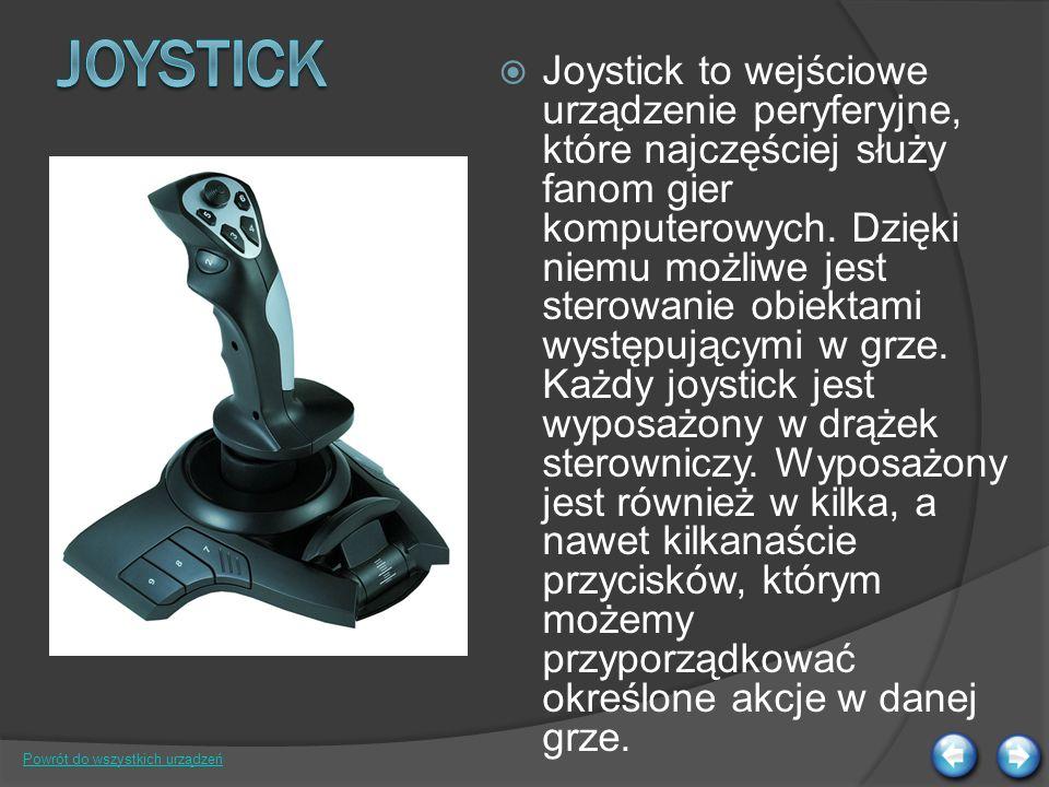 Joystick to wejściowe urządzenie peryferyjne, które najczęściej służy fanom gier komputerowych.