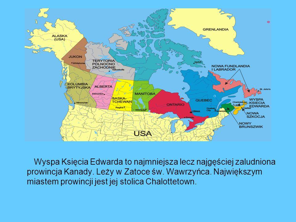Wyspa Księcia Edwarda to najmniejsza lecz najgęściej zaludniona prowincja Kanady. Leży w Zatoce św. Wawrzyńca. Największym miastem prowincji jest jej
